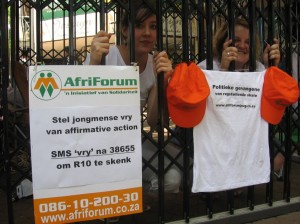 Set us free - posters and prosest against the ANC's racist 'job reservation' Affirmative Action policies